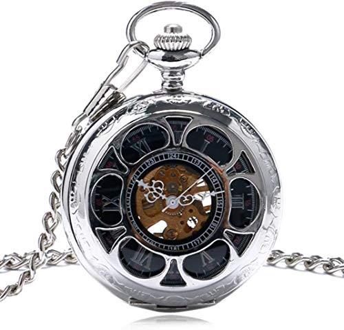 XUHRA El Viento De La Mano Reloj De Bolsillo Esfera De Un Reloj De Bolsillo del Abrigo Mecánica De Estilo Antiguo De Color Plata Cable Bulova,Plata