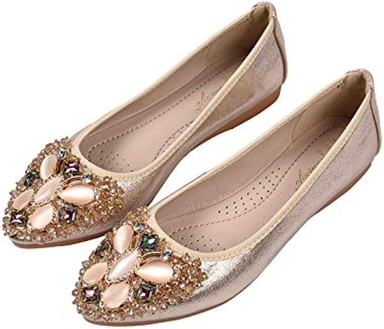 WHW Women shoes single shoe light port points water drilling tsutsu ,golden,33 shoes