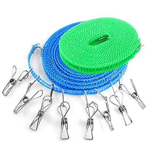 YuCool - Confezione con 2 fili stendibiancheria, portatili, con 8 mollette, 4,9x 7,9m, antivento, per interni ed esterni, casa, viaggio, campeggio
