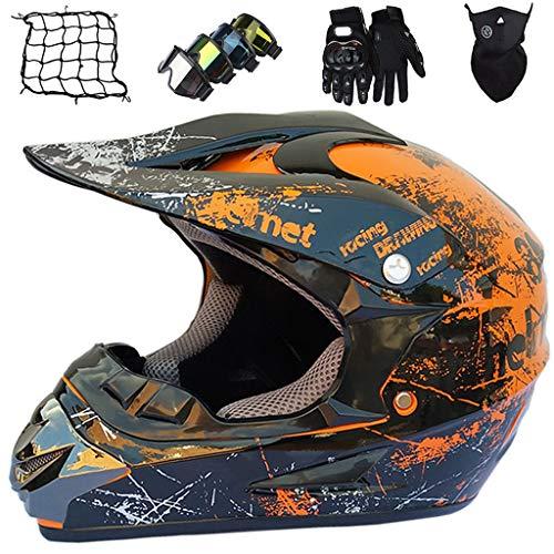 Casco MTB de Integrales, Casco Motocross para Niños Adultos, con Gafas/Máscara/Guantes/Red Elástica,...