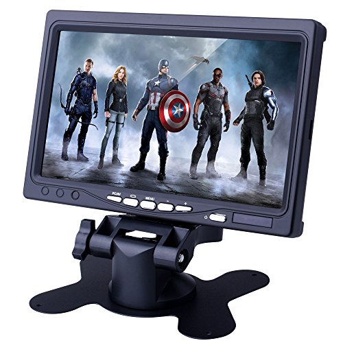 7 inch HD Screen Display,Quimat 1024x600 TFT LCD Monitor with AV/VGA/HDMI Input, Built-in Speaker for Computer PC DVR Home Office,Compatible with Raspberry Pi 4 3 2 1 Model B B+ SC7J