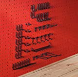 Extra Thick Black 1/4'' Metal Pegboard Hooks 57 Pcs | 1/4'' Black pegboard Accessories | Peg Board...