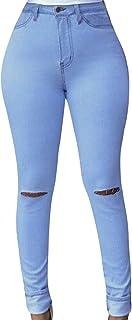 HarrowandSmith - Pantalones Vaqueros Ajustados para Mujer, Talle Alto, Color Azul