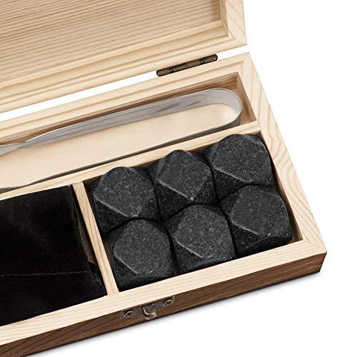 Murrano Whisky Steine Set - in Holzbox mit Gravur - 6 Eiswürfel + Zange & Velourbeutel - wiederverwendbar - aus Granit - Geschenk für Paare - Monogramm - 2