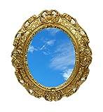 Ideacasa Specchio Ovale Dorato Oro Specchiera Stile Barocco Luigi XVI Finto Vintage cm 45x39