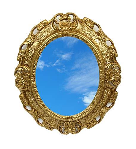 Ideacasa Miroir ovale doré style baroque Louis XVI imitation vintage 45 x 39 cm