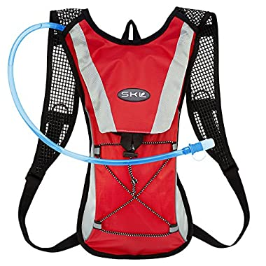 KUYOU Hydration Pack Water Rucksack Backpack Bladder Bag Cycling Bicycle Bike/Hiking Climbing Pouch + 2L Hydration Bladder,(Red+Water Pouch)