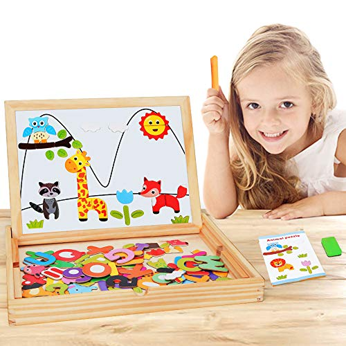 BeebeeRun Wooden Kid Art Easel 2 Side Tabletop Drawing Board Easel with Extra Letters,Numbers and Animal Magnets Puzzle Shapes Accessories for Kids Toddlers Boys and Girls
