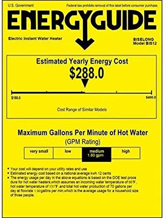 """Tankless Electric Hot Water Heater 220//240V under sink Kitchen Household White 7KW White Small Compact Instant No Standby Losses,Hot Water Output of 1.8 GPM,2 PCs 16/"""" Long 1//2/""""FIP Copper Head Hose"""