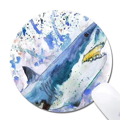 Tappetino per mouse da gioco ergonomico esteso Shark dell'acquerello, tappetino per mouse, tappetino per mouse Shark dell'acquerello rotondo in gomma 200X3Mm