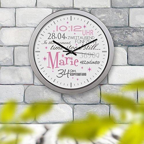 Kinderuhr Kinderzimmeruhr Wanduhr Geburtsuhr Uhr Marie