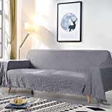 TAOCOCO Geometrical Weave Sofa Cover, Home Décor Couch Slipcovers with Tassels, Couch Covers for 3 Cushion Couch, Couch Protector, Sectional Couch Covers for Home or Workplace ( 90' X133', Dark Gray)