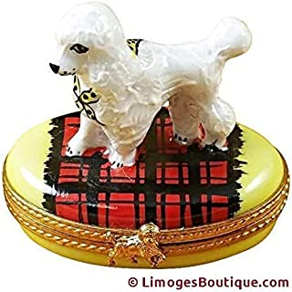 POODLE ON BLANKET - LIMOGES PORCELAIN FIGURINE BOXES AUTHENTIC IMPORTS