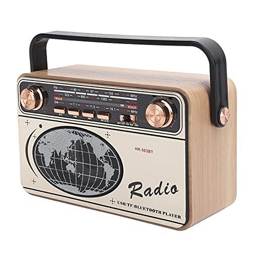Deansh Radio portátil, FM/Am/SW Radio de 3 Bandas Carga USB portátil Radio Bluetooth Caja de Madera multibanda Recargable Radio TF para Tarjeta de Memoria de Disco U