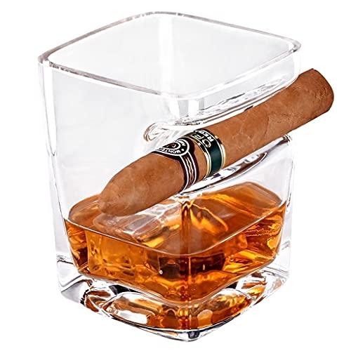 Vaso De Whisky Accesorios para Cigarros Juego De Vasos De Whisky De Cristal Abolladuras con Porta Cigarros,para Cócteles Escocés Bourbon Regalos para Hombres (Color : Transparent, Size : 8.8×9cm)