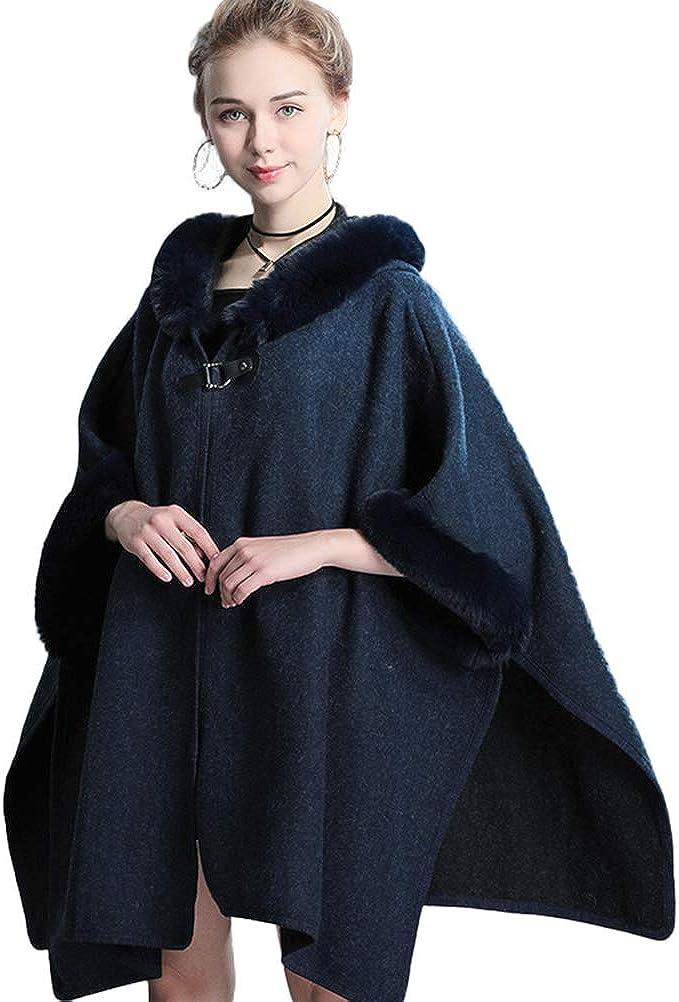Women's Faux Fur Cloak Hooded Open Sleeves Cashmere Cape