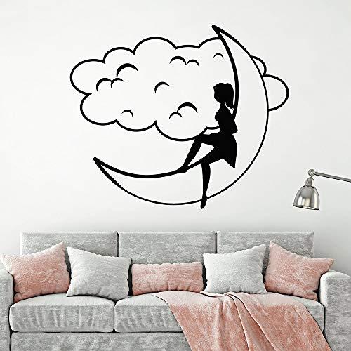 Ygmdtcy Dibujos Animados Luna niña y Nube decoración del hogar para la habitación de los niños decoración del hogar Mural de Arte de Pared