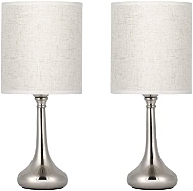 HAITRAL Modern Table Lamps - Nightstand Lamps Set of 2 with Fabric Shade, Small Bedside Desk Lamps for Guest Room, Living Room, Bedroom, Hotel - Silver (HT-TH36-11X2)
