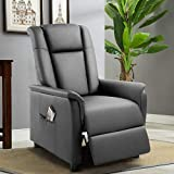 Pretzi Adjustable Recliner Chair Leather Single Reclining Sofa with Footrest for Living Room Modern Recliner Seat Chair with Pocket Home Theater Seating Bedroom (Grey)
