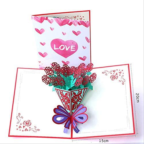 3 piezas Día de la madre Día del maestro Día de acción de gracias Tarjetas de felicitación Tarjeta postal 3d Flor emergente Talla hecha a mano Feliz cumpleaños Boda Regalos de San ValentínP