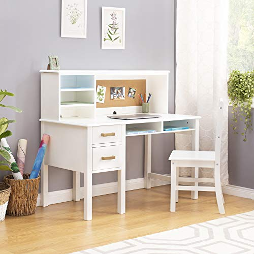 Guidecraft Taiga Desk, Hutch and Chair - White: Student's Study Computer Workstation with Multiple Storage Cubbies & Two Spacious Drawers