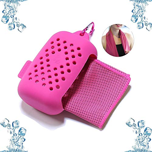 Rpanle Toalla de Enfriamiento, Toalla Fría de Hielo de Microfibra, con Bolsa de Almacenamiento de Silicona, Toalla de Hielo Fría Instantánea para Running Yoga Playa Gimnasio (Rosa Roja)