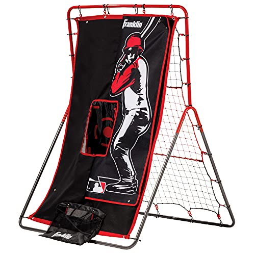 Franklin Sports Baseball Pitching Target and Rebounder Net - 2-in-1 Switch Hitter Pitch Trainer + Pitchback Net - Pitching Target with Hitter + Strikezone