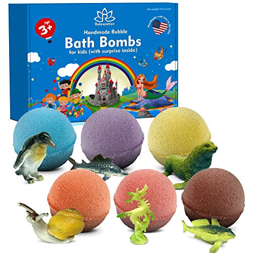 Bath Bombs for Kids with Surprise Inside SEA Animals - Natural and Safe Bath Bombs Gift Set for Girls & Boys - Multicolored Organic Bubble Bath - Made in USA