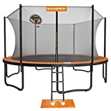 SONGMICS Outdoor Trampoline, 15-Foot Backyard Trampoline for Kids, with Enclosure Net, Basketball Hoop, Jumping Mat, Safety Pad, Ladder, Orange and Black USTR154O01