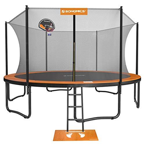 SONGMICS Outdoor Trampoline, 15-Foot Backyard Trampoline for Kids, with Enclosure Net, Basketball Hoop, Jumping Mat, Safety Pad, Ladder, Orange and Black USTR154O01