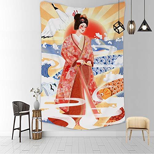 CNYG Manta psicodélica Kanagawa Wave Print Suspensión Manta Colgante de Pared Cama Bohemia Colgante de Pared Decoración del hogar Tapiz de Dormitorio Figura mitologica 150x100CM