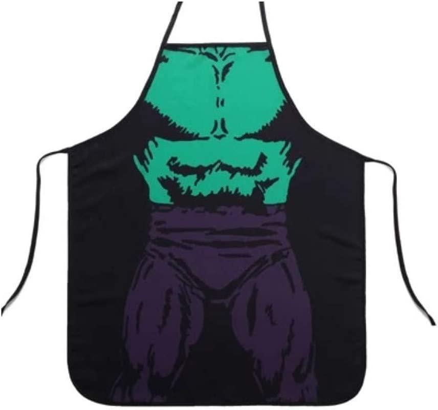 WKEEN Hulk Apron The Creative Kitchen Waterproof Apron Fashion Cute Cartoon Adult Lovers Kitchen Apron 73X60Cm