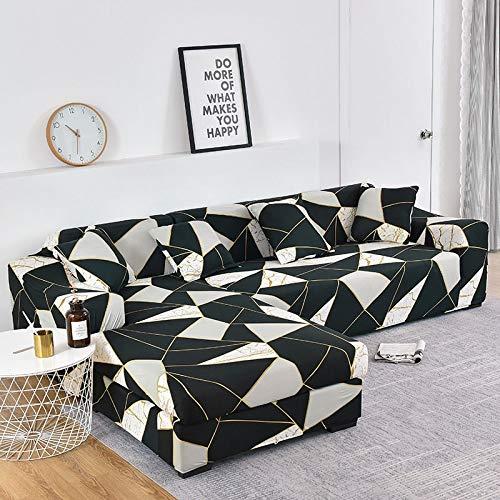 Funda de sofá elástica con Estampado Floral para el Protector de la Funda de la Silla de la Sala de Estar Compre Dos Fundas separadas para el sofá en Forma de L A6 de 3 plazas