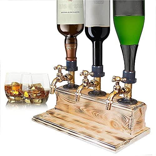 1/2/3 botella de licor de alcohol y whisky dispensador de madera, válvula dispensadora de whisky, para barras de fiesta (individual) (color: triple)