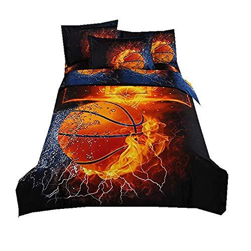 Stillshine Bettwäsche Bettbezug 3D Basketball Fußball Jungen Bett Bezug Bezüge Garnitur Set Bettdecke Kissenbezug Single Double King Size (Basketball, 135x200cm)
