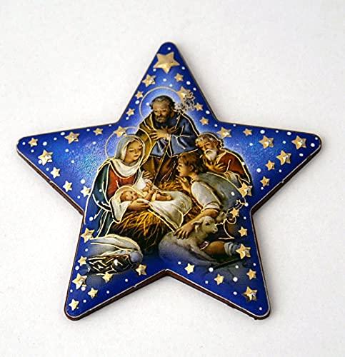 Kerststalweergave stervorm ca. 7 x 7 cm met magneet