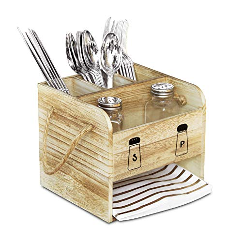 """Ikee Design Wooden Utensil Caddy Flatware Holder with Handles - Hold for Spoons, Knives, Forks, Salt Pepper Shakers, Napkins for Dining Room, Restaurant and Kitchen, 7 1/8""""W x 6 5/8""""D x 7 1/2""""H"""