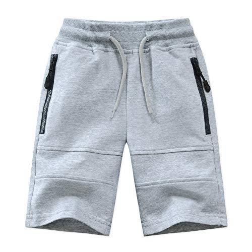 LAPLBEKE Jungen Shorts Kinder Sommer Tunnelzug Elastische Taille Sport Sweathose Knielänge Baumwolle Sommerkleidung Kurze Hosen Grau 140-146