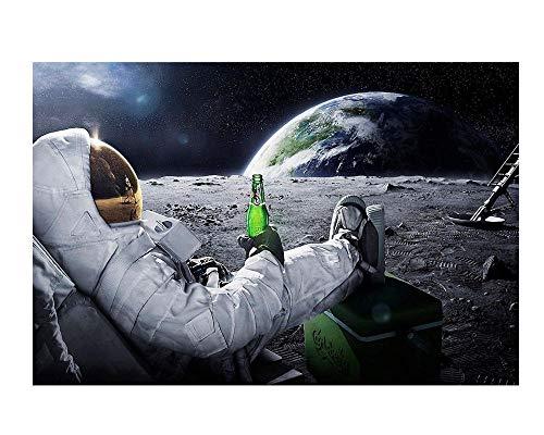 mmzki Astronauten Trinken Bier auf dem Mond Amerikanische dekorative Malerei und Ölspraymalerei Leinwand Wandkunst Home Decor Poster-60X80cm_no_Frame_1