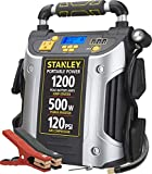 STANLEY J5CPD POWERiT Digital Portable Power Station Jump Starter: 1200 Peak/600 Instant Amps, 500W Inverter, 120 PSI Air Compressor, 3.1A USB Ports, Battery Clamps