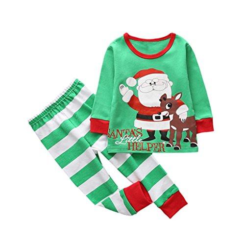 Hirolan Baby Weihnachtskleid Kleinkind Junge Kinderkleidung Spielzeug Kinder Mädchen Hirsch Outfits Baumwolle Beiläufig Kleider Langarmshirt Runder Kragen Tops Streifen (90, Grün)