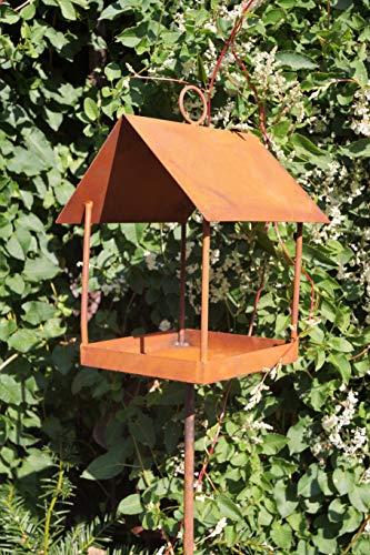 Dekostüberl Rostalgie Edelrost Vogelhaus auf Stab 140cm Futterplatz Gartenstecker Meisenknödel Haus Vögel