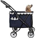 HD2DOG Pet Travel Stroller for Small Medium Dogs, Large Foldable 4 Wheels Pram
