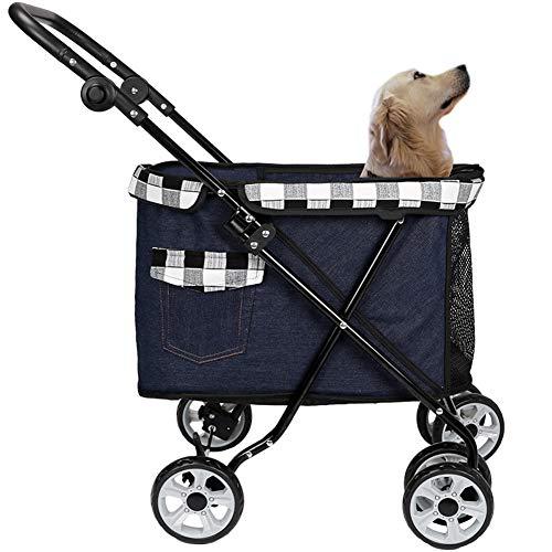 HD2DOG Kinderwagen Für Kleine Mittelgroße Hunde Großer, Zusammenklappbarer Hundebuggy Mit 4 Rädern Und 2 Taschen, Belastbar Bis 25 Kg des Katzenkinderwagens XTM496,Schwarz
