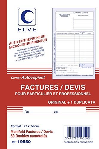 ELVE Manifold AUTO-ENTREPRENEUR Facture/Devis 21 x 14 cm Vertical 50 dupli