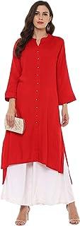 RIDAN Women's Rayon Red indian kurti Kurta