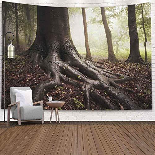 OMNHGFUG Tapiz de pared de invierno para Navidad, Día de Acción de Gracias, 20 x 152 cm de un árbol en bosque neblinoso, tapiz para colgar en la pared para dormitorio, hogar