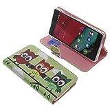 Tasche für Wiko Pulp 4G Book Style Eulen grün Schutz Hülle Buch
