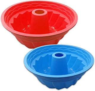 Senhai Lot de 2 moules de cuisson ronds cannelés en silicone anti-adhésif pour four à four Rouge Bleu