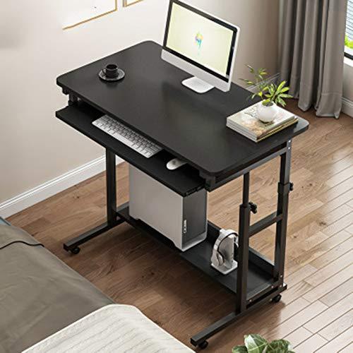 Escritorio De Computadora,Altura Ajustable Mesa Extraíble Cajón Teclado con Ruedas for Sala De Estudio, Oficina,Negro